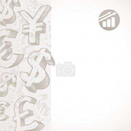 Vektor-Hintergrund mit handgezeichneten Währungszeichen