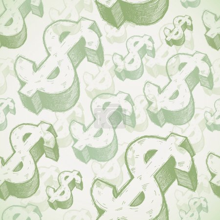 Vector seamless background with hand drawn dollar signs