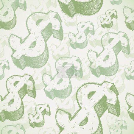Illustration pour Fond sans couture vectoriel avec des signes dollar dessinés à la main - image libre de droit