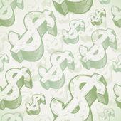 Vektorové bezešvé pozadí s ručně tažené znaky dolaru