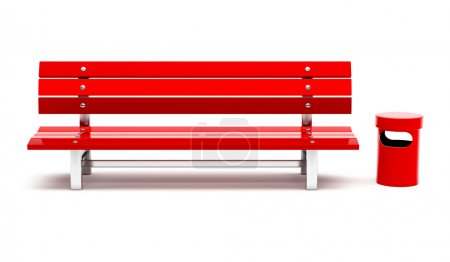 Red bench and bin