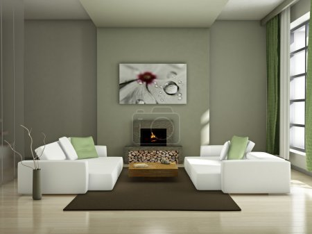 Photo for Modern interior (3D render) - Living room - Royalty Free Image