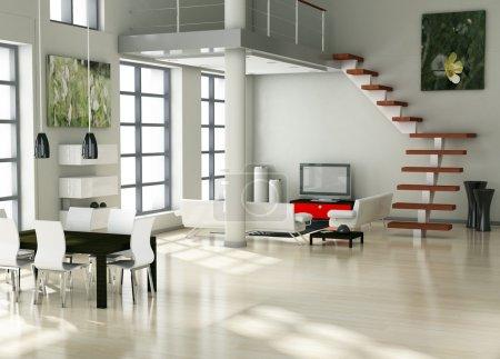 Photo for Modern interior (3D render) - Living room - Royalty Free Image