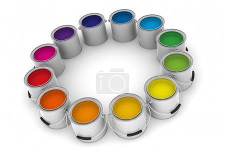Photo for A Group of Colorful Paint Cans on White Background - Royalty Free Image