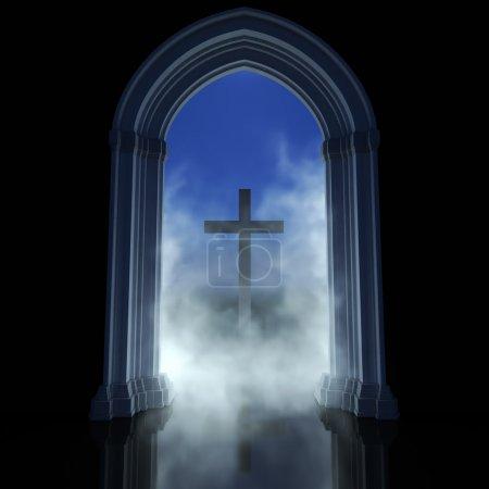 Photo pour Temple gothique et croix. Religion symbole abstrait un chemin vers Dieu - image libre de droit