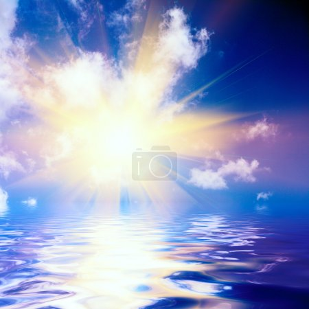 Photo pour Surface abstraite de coucher du soleil et de la mer - image libre de droit
