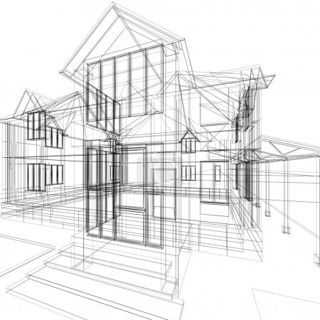 Photo for Abstract sketch of house. 3d architecture illustration. - Royalty Free Image