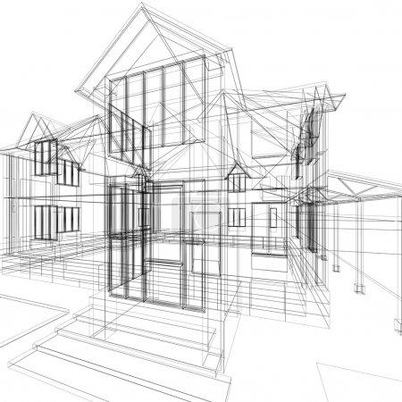 Photo pour Croquis abstrait de la maison. illustration d'architecture 3D. - image libre de droit