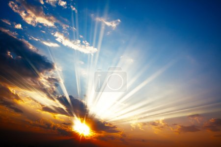 Photo for Beautiful colorful sunset with sun rays - Royalty Free Image