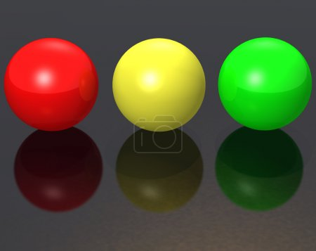 Three metal spheres - color - red, greeen, yellow