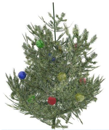 Photo pour Arbre à fourrure de Noël avec éléments de jouets (simulation informatique ) - image libre de droit