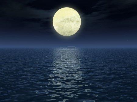 Photo pour Chemin lunaire (réflexion de la lumière de la lune sur une surface d'eau) - photo très qualitative de la lune (cratères visibles ) - image libre de droit