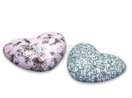 Photo pour Deux cœurs d'une pierre de marbre de couleur sur fond blanc - image libre de droit