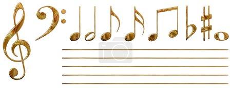 Photo pour Ensemble de tous les notes(isolated) musicaux avec des effets visuels (or) - image libre de droit