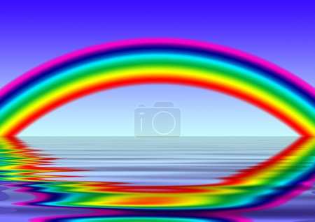 Photo for Bright rainbow above the sea (illustration) it is generated on a computer - Royalty Free Image