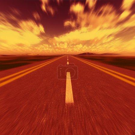 Photo pour Route vers l'enfer. Une autoroute de transport avec à l'enfer - image libre de droit