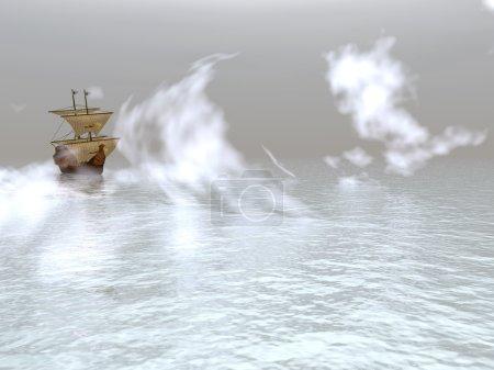 Photo pour Voilier flottant dans un brouillard dense (l'ancien navire ) - image libre de droit