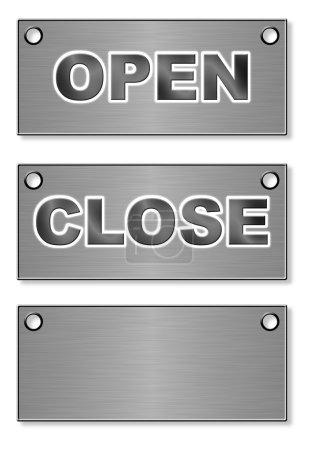 """Photo pour Comprimés (enseignes) en métal avec inscriptions """"Open"""" et """"Close"""" (vernis noir ) - image libre de droit"""
