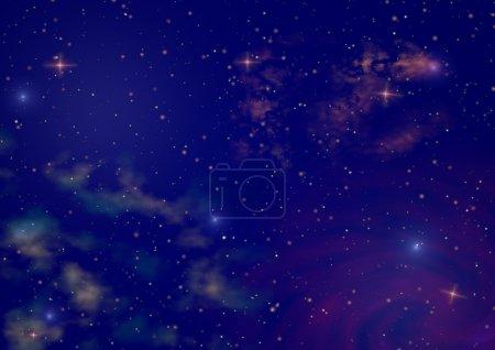 Foto de Brilla el cielo nocturno estrella con conjunto de estrellas y espacio color niebla - Imagen libre de derechos