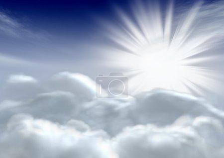 Photo pour Le soleil et les nuages. Le ciel fantastique. Rendu 3d - image libre de droit