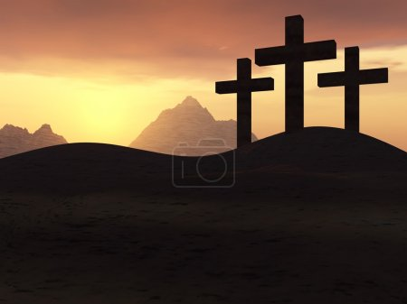 Photo for Three crosses on a hill on a background of a sunset - Royalty Free Image