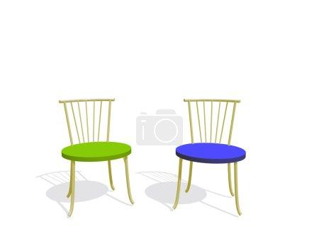 Photo pour Deux chaises avec des sièges de couleur (isolé sur un fond blanc ) - image libre de droit