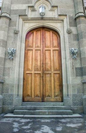 Wooden doors in ancient castle
