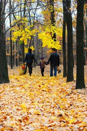Photo pour Famille dans la forêt d'automne. marche pour les mains d'une famille heureuse de trois personnes - image libre de droit