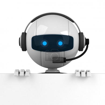 Photo pour Robot blanc drôle rester avec bannière vierge - image libre de droit