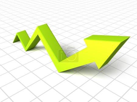 Photo pour 3d vert flèche graphique croissance vers le haut - image libre de droit