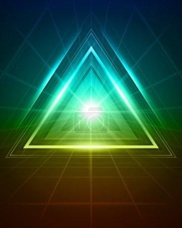 Illustration pour 3D abstrait triangle tunnel vecteur fond eps 10 - image libre de droit