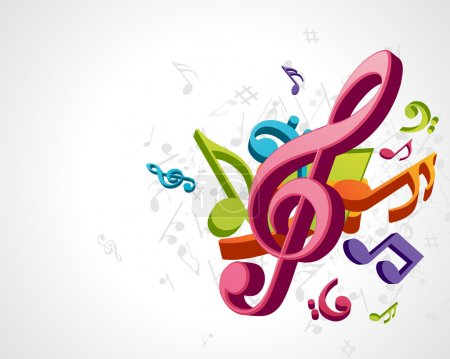 Illustration pour Notes de musique colorées fond vectoriel eps 10 - image libre de droit