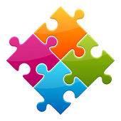 Colorful shiny puzzle vector illustration Eps 10