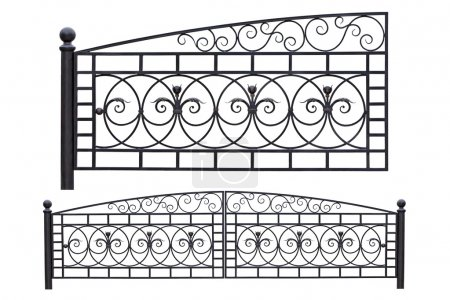 Photo for Modern light, forged, decorative gates. Isolated over white background. - Royalty Free Image