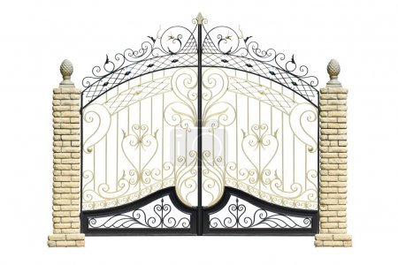 Old forged gates and door by ornament.