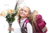 écolière avec fleurs