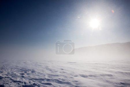 Photo pour Souffler de la neige dans un paysage hivernal désolé - image libre de droit