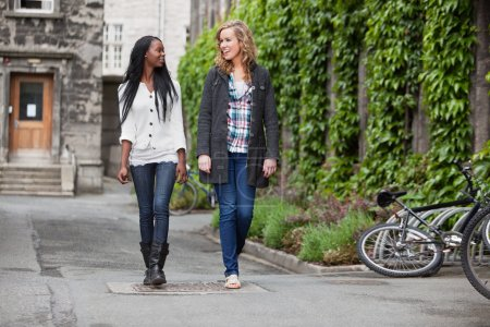Photo for Two young friends having a casual chat while walking on street - Royalty Free Image