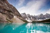 Calm water and mountain range