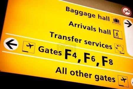 Photo pour Une pancarte à un aéroport avec des directions vers divers services - image libre de droit