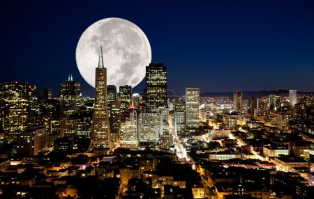 Photo for A full moon over a urban metropolis - Royalty Free Image