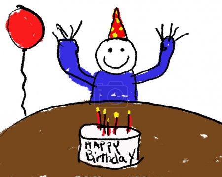 Photo pour Un dessin enfantin d'un garçon d'anniversaire - image libre de droit