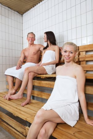 Group of in sauna