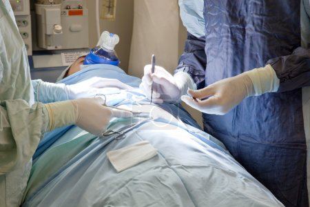 Patient going through an operation