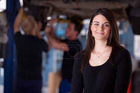 Happy Woman Auto Repair Customer