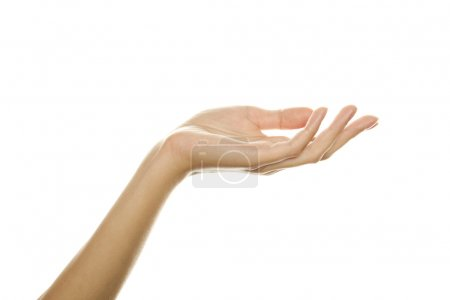 Photo for Close-up of beautiful woman's hand, palm up. Isolated on white background - Royalty Free Image