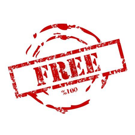 Illustration pour Timbre gratuit. % 100 . - image libre de droit