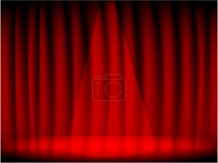 Theatre red curtain and stage.
