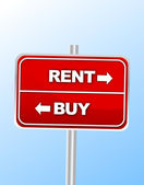 Rent or buy road sign