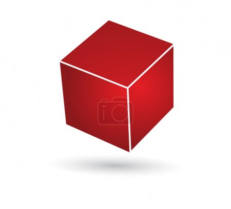 Illustration for Red cube vector with 3d effect - Royalty Free Image